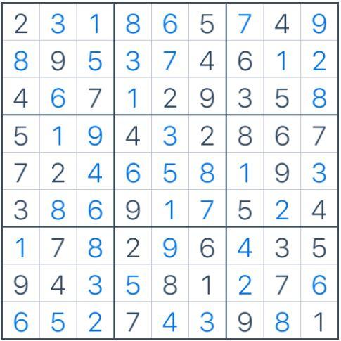 Lời giải của Sudoku trong Hình 1
